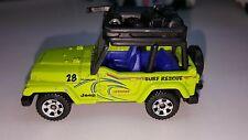 """2012 Matchbox """"Beach Rescue"""" 1998 Jeep Wrangler GREEN/LIFEGUARD SURF/MINT MB369"""