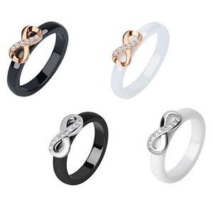 Ring Damenring Keramik Infinity Austria Kristall Edelstahl 4 Varianten NEU