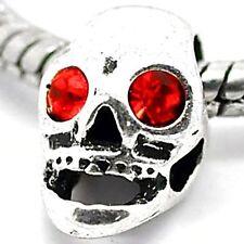 HALLOWEEN RED RHINESTONE SKULL Charms Bead For Silver Charm Bracelets m1442
