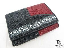 PELGIO Genuine Row  DIamond Stingray Skin Leather Trifold Wallet Black & Red
