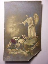 Antique Bulgarian Postcard Angel Standing Above Two Sleeping Children