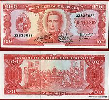 URUGUAY billet neuf de 100 PESOS Pick 47 reunion  INDEPENDANCE scene 1967