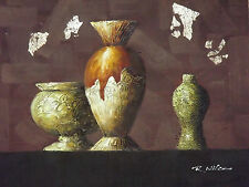 contempoary modern vases large oil painting canvas original art cream brown