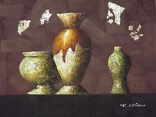contempoary moderno floreros grande pintura al óleo lienzo arte crema marrón