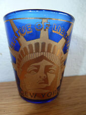 """Cobalt Glass Shot Glass Statue of Liberty in Gold  New York   2 1/4"""""""