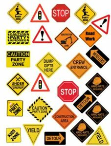 Edible Cupcake Top- 27 CONSTRUCTION SIGNS - Wafer/ Rice Paper or Icing