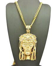 """Hip Hop Iced Out CZ Big Jesus Face Pendant w/ 6mm 30"""" Box Cuban Chain Necklace"""
