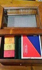 Dal Negro confezione legno con vetro e cassetto con carte da gioco e fiches