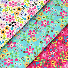 Cotton Poplin Fabric by FQ Kawaii Flower Retro Floral Print Dress Quilting VK111