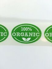 50 1 x 1.5 Oval 100% Organic Oval Labels Stickers NEW 100% Organic Stickers NEW