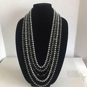 Lia Sophia Cabaret 7 Strands Gray/Silver/Black Glass Pearls Resin Beads Necklace
