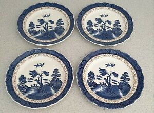ROYAL DOULTON BOOTH'S REAL OLD WILLOW. 4 x SIDE PLATES - 7 inches/18 cm diameter