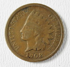 1908-S US Mint Indian Head .01c Cent Penny Good + G+ Condition Coin