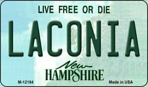Laconia New Hampshire State Background Metal Magnet