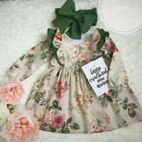 2PC Toddler Kid Baby Girl Princess Floral Long Sleeves Dress Headband Set Outfit