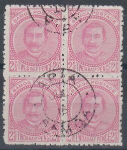 SAMOA 1892 2½d. KING USED BLOCK (x4)