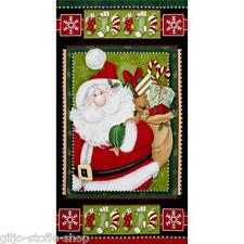 Nikolaus Panel Weihnachtsstoff Stoffe Weihnachtsmann Weihnachten Patchworkstoffe