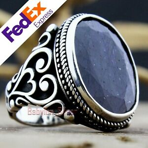 Natural Sapphire Stone 925 Sterling Silver Turkish Handmade Men's Ring All Sizes