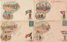 EXPOSITION 1900 PARIS LITHO Cards with FLAGS COUNTRIES 33 Vintage  Postcards