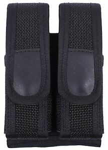 Police DUAL Magazine Pouch 9mm 45 clip Heavy Duty MAG Case Belt Mount New 10572