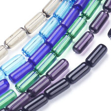 30 Strds Transparent Glass Tube Beads Smooth Loose Beads Colorful Beading 9x4mm