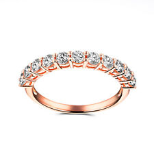 Solid 10K Rose Gold Round 0.8ct Moissanite Vintage Antique Bands For Women Ring