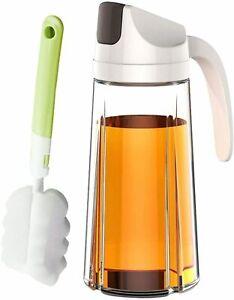 Oil Dispenser Auto Flip Olive Glass Bottle 22 Oz Leakproof Condiment Container