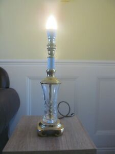 Brass and Crystal Glass Table Lamp, No Shade
