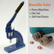 200 Hat rivets + Press Machine Punch Tool Stud Buttons Jeans Leather Bags 8, 9mm