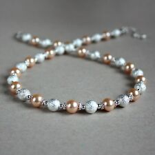 Silver stardust peach pearl beaded collar choker necklace wedding jewellery
