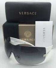 New VERSACE Sunglasses VE 2054 1000/8G 115 Gunmetal & White w/Grey Gradient Lens