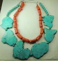 Turquoise Howlite Slab 2 Strand Necklace with Coral Statement Handcrafted