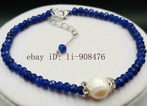 New 9-10mm White Akoya Pearl&2x4mm Blue Sapphire Faceted Gem Bracelet 7.5 inches
