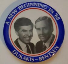 A New Beginning in '88 DUKAKIS BENTSEN Celluloid Button Pin Union Democrat Party