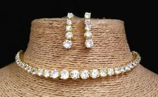 Gopalvilla American Diamond Alloy White Designer Gold Plated Necklace Earrings