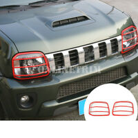 Metal Red Front Headlight Frame Trim Cover 2pcs For Suzuki Jimny 2007-2017