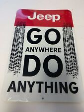 "JEEP GO ANYWHERE DO ANYTHING W/ TIRE TRACKS 13""X9"" Metal Tin Sign Garage NEW"