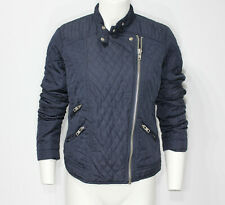 NWT! Topshop Women's quilted biker style jacket coat blue RRP £58! Sold Out Asos