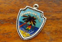 Vintage sterling silver MIAMI BEACH FLORIDA STATE TRAVEL SHIELD charm #E34