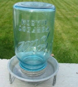 Vtg Weathered Galvanized Chicken Feeder Jar Lid Farm Tool Ball Perfect Mason Old