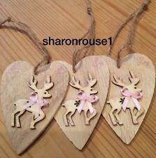3 X Christmas Decorations Reindeer Shabby Chic Rustic Nordic Wood Handmade Pink