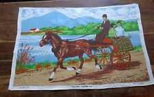 Vtg irish linen tea towel The Irish Jaunting Car Horse Pony Cart