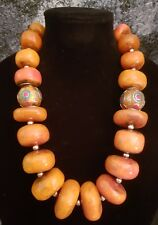 Moroccan Resin Berber Style Tribal Statement Necklace KATROX Ethnic Faux Amber