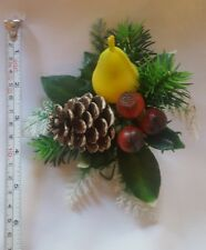Vintage Christmas Xmas Pear Berries Pinecone Tree Table Ornament Decoration