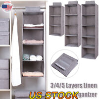 3/4/5 Layers Storage Home Wardrobe Hanging Clothes Holder Rack Closet Organizer