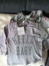 NEXT BABY GIRLS 2 PACK GREY HELLO BABY & BUNNY RABBIT TOPS 3-6 MONTHS