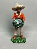 Tlaquepaque Ceramic Pablo Goche Man and Sombrero Holding Plate Figurine,  Signed