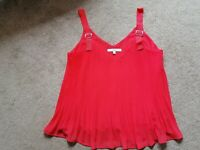 Next Coral Red Camisole Top Floaty Uk Size 10 Good Condition