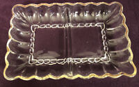 Pressed Glass Candy Relish Dish Clear Divided Rectangle Scalloped Edge Vintage