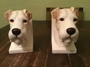Vintage Pair of Ceramic Hand Painted Terrier Bookends